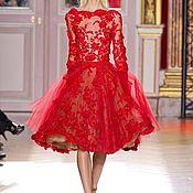 Одежда ручной работы. Ярмарка Мастеров - ручная работа Пышное роскошное красное платье. Handmade.