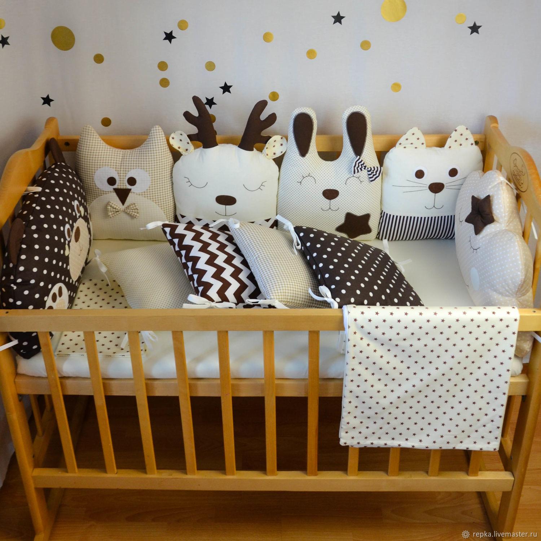 Бортики в кроватку на 4 стороны, Текстиль, Брянск, Фото №1
