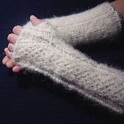 Аксессуары handmade. Livemaster - original item Women`s knitted fingerless gloves Snowstorm. Handmade.