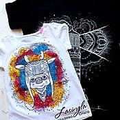 Семейные футболки с рисунком ручной работы