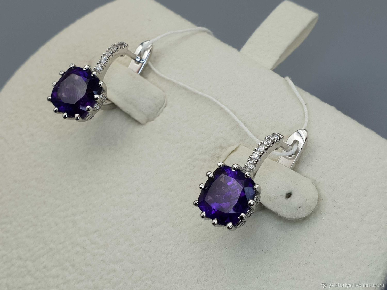 Silver earrings with amethysts and cubic zirconia, Earrings, Moscow,  Фото №1