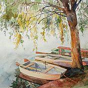 """Картины и панно ручной работы. Ярмарка Мастеров - ручная работа Акварель """"Лодки"""". Handmade."""