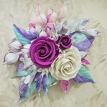 Цветы и флористика ручной работы. Ярмарка Мастеров - ручная работа Настенное 3D цветочное панно Декор стен цветами. Handmade.