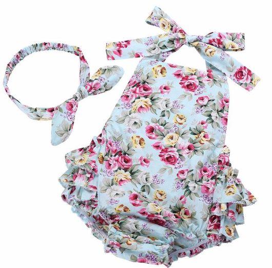 Одежда для девочек, ручной работы. Ярмарка Мастеров - ручная работа. Купить Комплект Детский комбинезон + повязка на голову из хлопка. Handmade.
