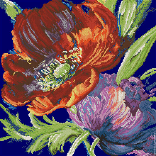 Схема для вышивания бисером цветов с полной зашивкой `Акварель