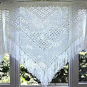 Аксессуары handmade. Livemaster - original item Shawl knitted Sandra 230x150x150 white with fringe #311. Handmade.