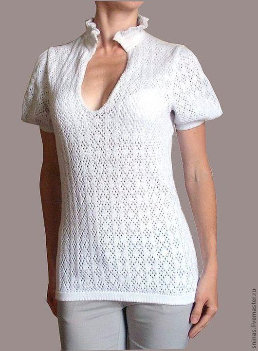 "Блузки ручной работы. Ярмарка Мастеров - ручная работа. Купить Вязаная блузка ""Zephyr"" белая. Handmade. Вязаная кофточка, блуза"