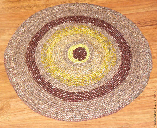 Текстиль, ковры ручной работы. Ярмарка Мастеров - ручная работа. Купить Вязаный бабушкин коврик Пенек. Handmade. Коричневый, половик
