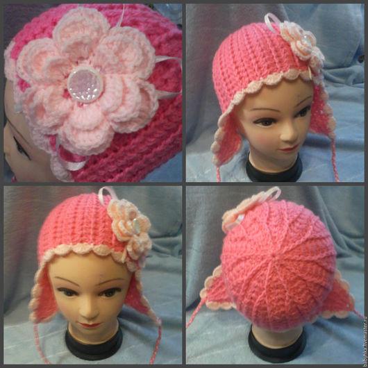 Шапки ручной работы. Ярмарка Мастеров - ручная работа. Купить шапочка для девочки. Handmade. Фуксия, для девочки