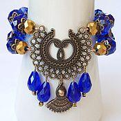 Украшения handmade. Livemaster - original item A set of crystal in the Oriental style of the azure evening.. Handmade.