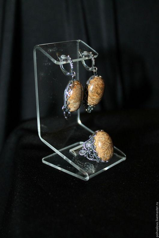 Комплекты украшений ручной работы. Ярмарка Мастеров - ручная работа. Купить Посеребренный комплект из натуральных камней с природной яшмой. Handmade.