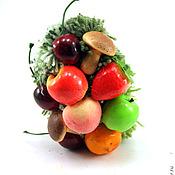 Куклы и игрушки ручной работы. Ярмарка Мастеров - ручная работа игрушка Ежик фруктовый (еж, ежонок, яблоко, груша, вишня). Handmade.