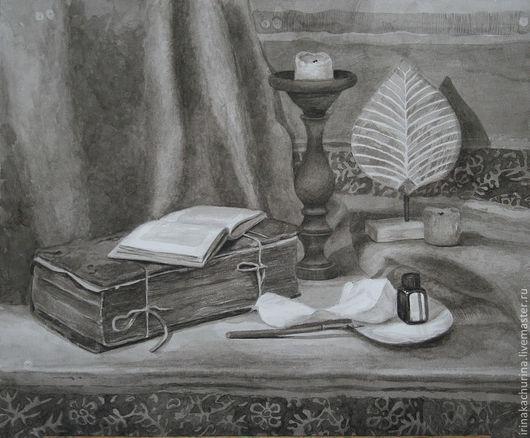Натюрморт ручной работы. Ярмарка Мастеров - ручная работа. Купить Муза пера. Handmade. Серый, письмо, книга ручной работы