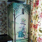 Дизайн и реклама ручной работы. Ярмарка Мастеров - ручная работа Роспись холодильника Дама с котом. Handmade.
