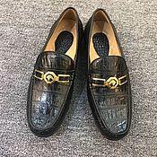 Обувь ручной работы handmade. Livemaster - original item Moccasins made of genuine crocodile leather, black color!. Handmade.
