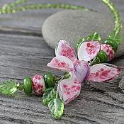 Украшения ручной работы. Ярмарка Мастеров - ручная работа Колье лэмпворк орхидея мини. Handmade.