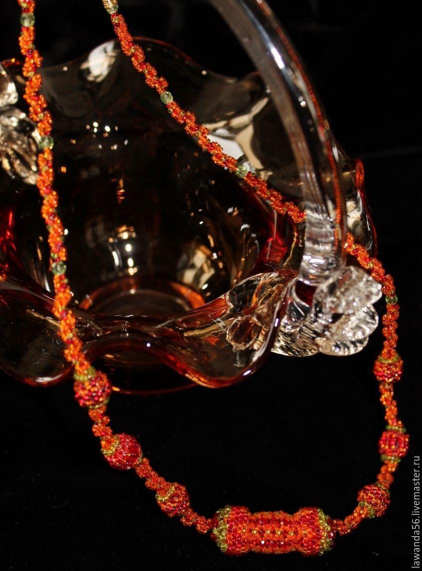 Beads woven beads beaded Orange summer, Necklace, Krasnoyarsk,  Фото №1