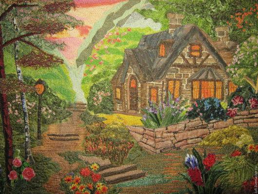 """Пейзаж ручной работы. Ярмарка Мастеров - ручная работа. Купить Квилт """"Мой Кинкейд"""". Handmade. Разноцветный, Кинкейд, пруд, хлопок"""