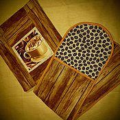 Для дома и интерьера ручной работы. Ярмарка Мастеров - ручная работа Комплект прихваток для кухни кофейный. Handmade.