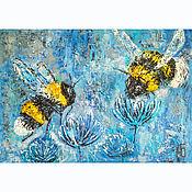 Картины и панно handmade. Livemaster - original item Textured interior oil painting Winter bumblebees. Handmade.