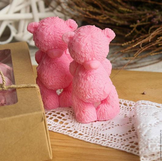 Мыло ручной работы. Ярмарка Мастеров - ручная работа. Купить оливковое  мыло МИШКА ТЕДДИ СКРОМНИК! (темно-розовый). Handmade.