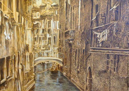 """Город ручной работы. Ярмарка Мастеров - ручная работа. Купить Картина """"Венеция"""". Handmade. Коричневый, картина в подарок, картина на холсте"""