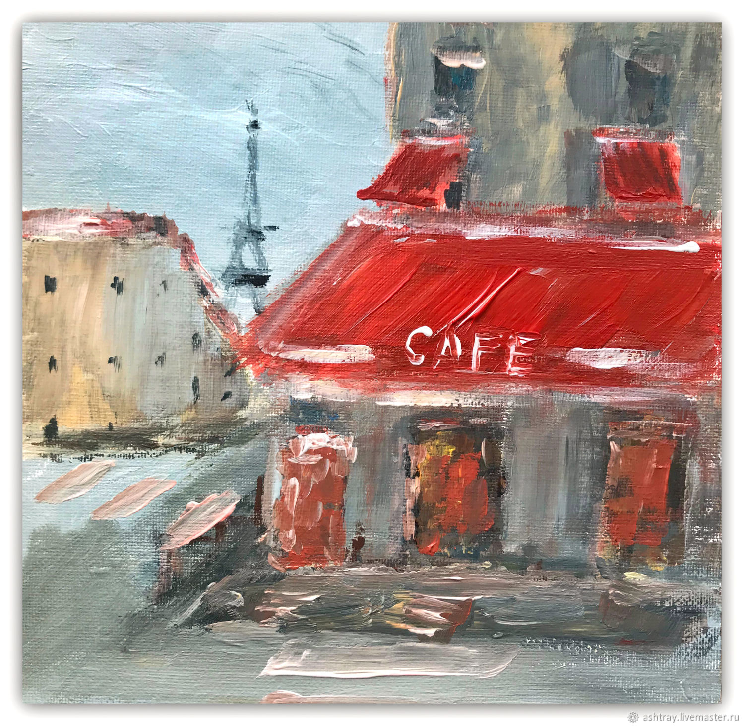 Acrylic painting 'Evening in Paris' red, gray, yellow, Pictures, Korsakov,  Фото №1