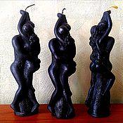"""Ритуальная свеча ручной работы. Ярмарка Мастеров - ручная работа Свеча """"Влюбленные/Любовь-ники"""" черная восковая. Handmade."""