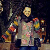 Одежда ручной работы. Ярмарка Мастеров - ручная работа Зимнее полупальто ВАЛЬС ЦВЕТОВ. Handmade.