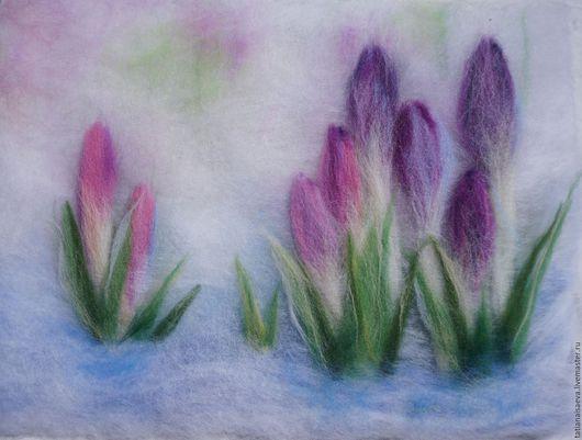 Картины цветов ручной работы. Ярмарка Мастеров - ручная работа. Купить Крокусы. Handmade. Фиолетовый, весенние цветы, картина в подарок
