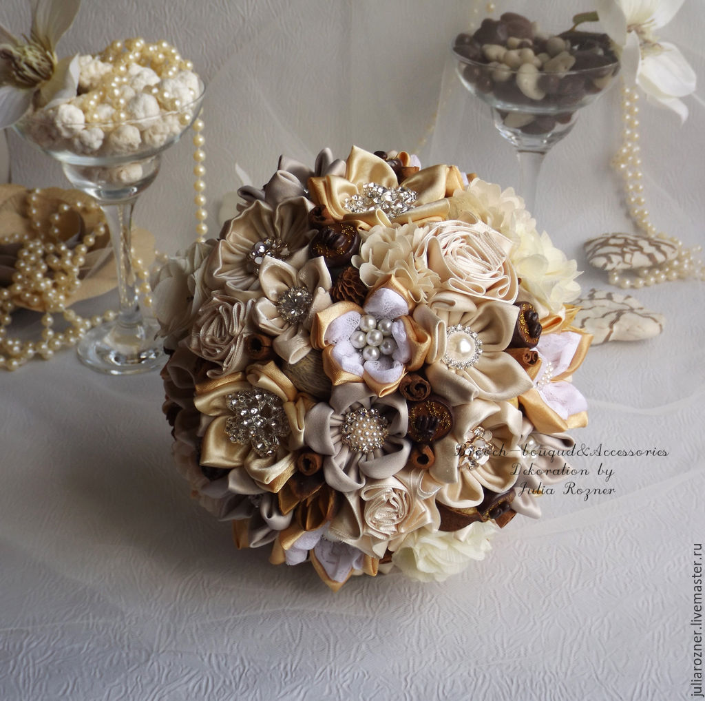 wedding brooch bridal bouquet in rustic style vanilla history shop online on livemaster with. Black Bedroom Furniture Sets. Home Design Ideas