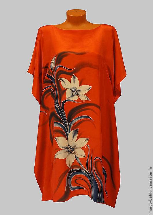 """Блузки ручной работы. Ярмарка Мастеров - ручная работа. Купить Серапе- платье батик  """"Лилии"""". Handmade. Блузка, шелк, серапе"""