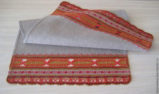 """Текстиль, ковры ручной работы. Ярмарка Мастеров - ручная работа. Купить Салфетка """"Малиновый чай"""" из льняной ткани с кружевом и вышивкой. Handmade."""