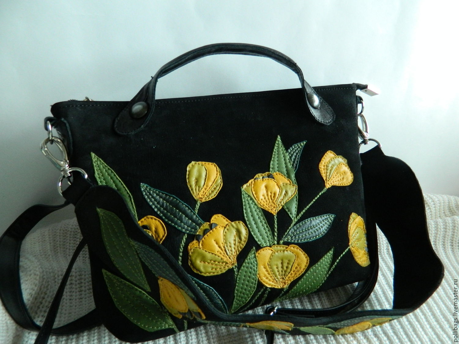 Bag leather crossbody bag bag with applique tulips black u shop