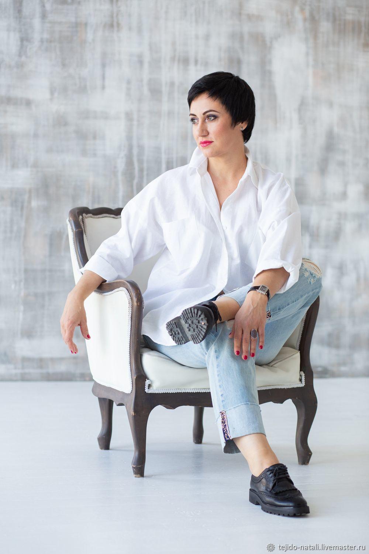 7edf9335dc8 Заказать Белая льняная рубашка в мужском стиле оверсайз. natali Женская  одежда ...