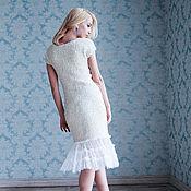 Одежда ручной работы. Ярмарка Мастеров - ручная работа Молочное платье с кружевом. Handmade.