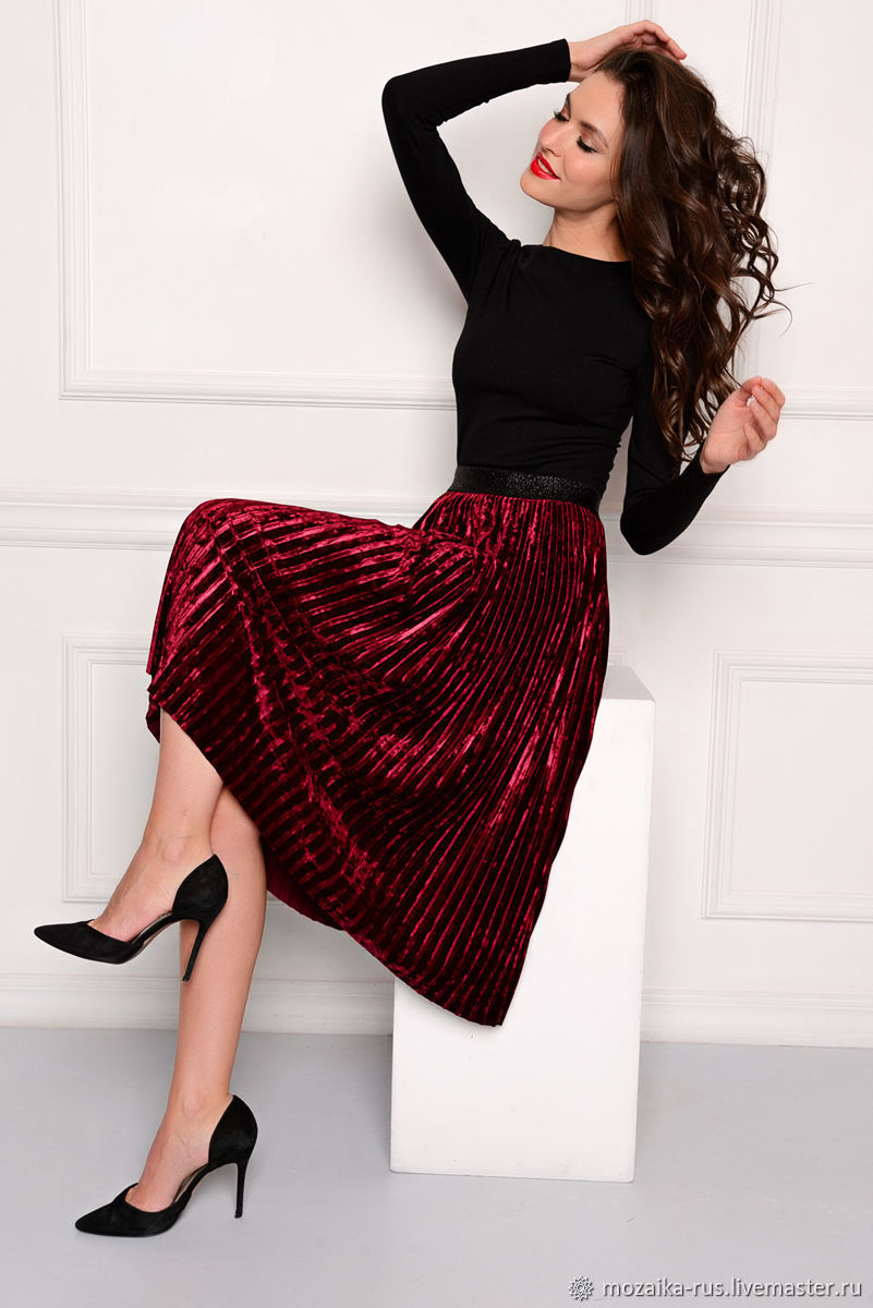 321816527e9f55 Skirts handmade. Livemaster - handmade. Buy Pleated skirt made of velvet  Bordeaux.