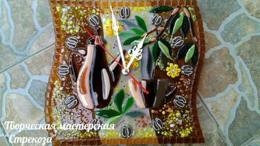 """Часы для дома ручной работы. Ярмарка Мастеров - ручная работа. Купить Часы """"Кофейные"""" из стекла. Handmade. Фьюзинг, кофе"""