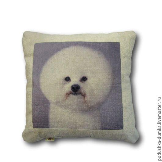 Текстиль, ковры ручной работы. Ярмарка Мастеров - ручная работа. Купить Подушка интерьерная с собакой Бишон -  отличный подарок.. Handmade.