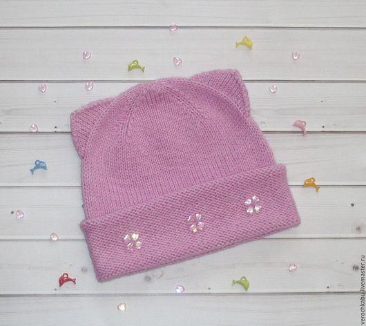 купить шапку, купить шапочку, шапка, шапочка, вязаная шапочка для девочки, вязаный комплект для девочки, розовый, вязаная шапочка, шапочка кошечка, кошка, красивая шапка
