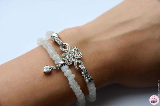 """Браслеты ручной работы. Ярмарка Мастеров - ручная работа. Купить Набор браслетов """"Узел Любви"""" из лунного камня. Handmade. Белый"""