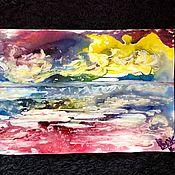 Картины и панно handmade. Livemaster - original item Yellow clouds over blue sea.. Handmade.
