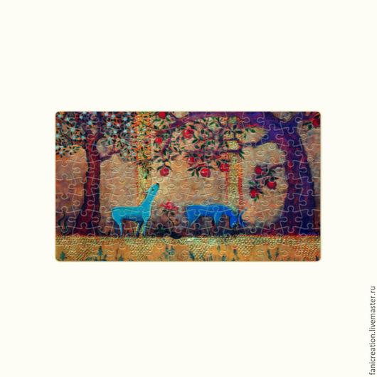 Новый год 2017 ручной работы. Ярмарка Мастеров - ручная работа. Купить Пазл магнитный. Сказочный сад.. Handmade. Принт