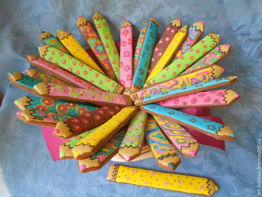 Цветные пряничные карандаши - подарок для всего класса на 1 сентября. Расписной имбирный пряник - кулинарный сувенир ручной работы. ПРЯНИЧКИ ОТ ТАНЕЧКИ.