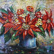 Картины и панно ручной работы. Ярмарка Мастеров - ручная работа Картина маслом Пуансетия рождественская звезда. Handmade.