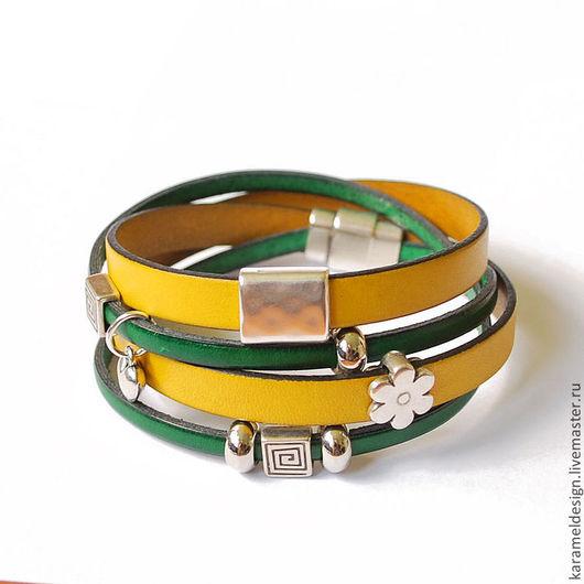 Браслеты ручной работы. Ярмарка Мастеров - ручная работа. Купить Кожаный браслет намотка двуцветный, зеленый и желтый. Handmade. Желтый