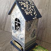 Для дома и интерьера ручной работы. Ярмарка Мастеров - ручная работа чайный домик Синий хранение чая декупаж. Handmade.
