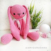 Куклы и игрушки handmade. Livemaster - original item Great knitted long-eared Pink Bunny. Handmade.