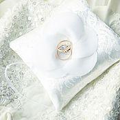 Свадебный салон ручной работы. Ярмарка Мастеров - ручная работа Свадебная подушечка для колец белая. Handmade.