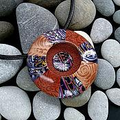 Украшения handmade. Livemaster - original item Pendant from polymer clay - Boho-UFO (dark blue, copper, large). Handmade.
